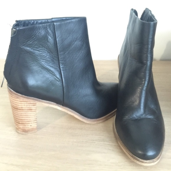 Asos Black Leather Booties With Wood Heel